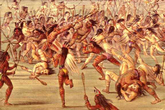 Native Americans playing lacrosse